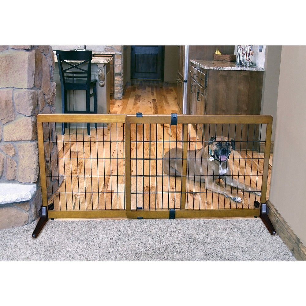 Carlson extra tall wood free standing pet gate black