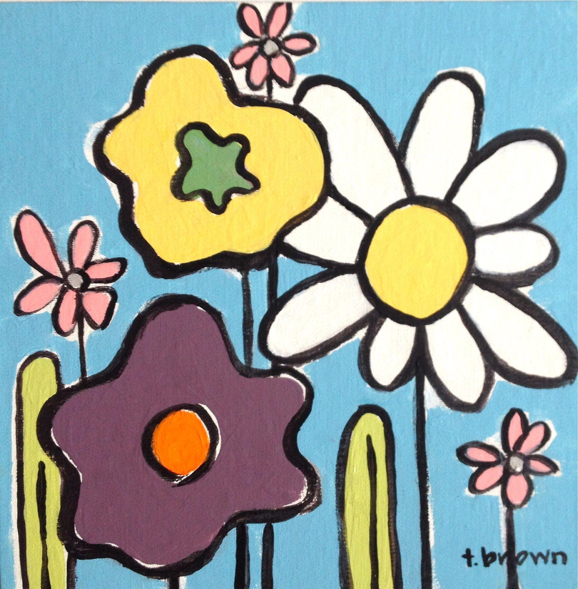 wildflowers. 8x8 painting.