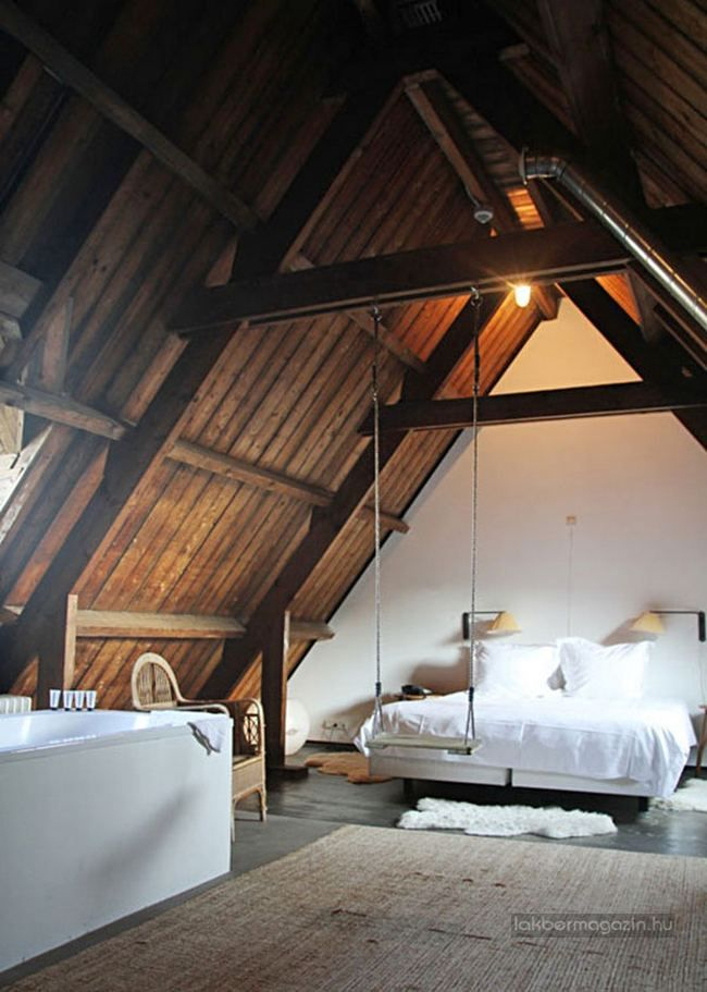Rustic minimalist bedroom with white bending to