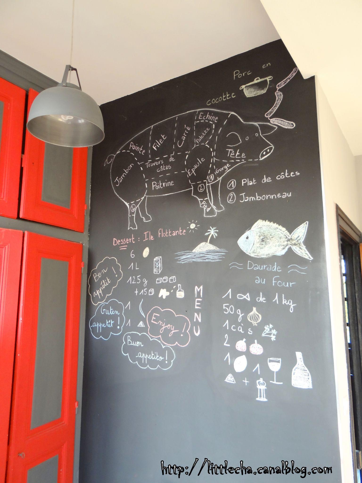 Un mur ardoise dans ma cuisine - Little Cha  Ardoise cuisine