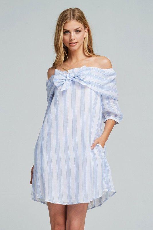 a2e9426ed3493b Listicle Blue and White Stripe Off Shoulder Dress