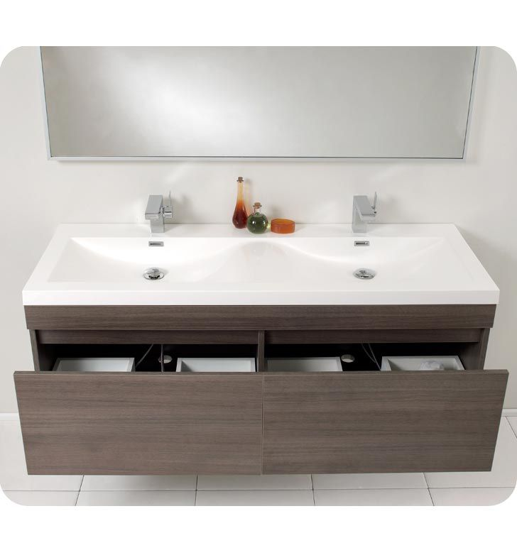 Fresca Largo Gray Oak Modern Bathroom Vanity W/ Wavy Double Sinks ::  Bathroom Vanities :: Bath Kitchen And Beyond