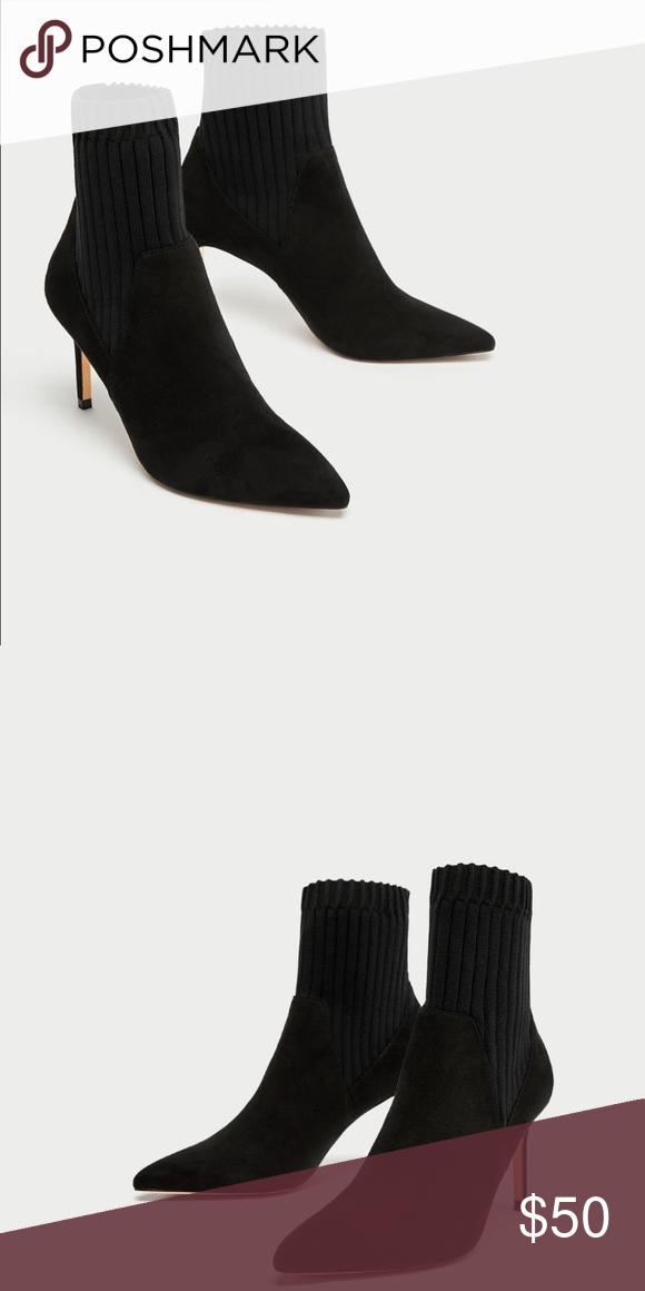 2c1147002fc7 ZARA Woman Combined Ankle Sock Booties EU 40 US 9 Black faux suede sock  style