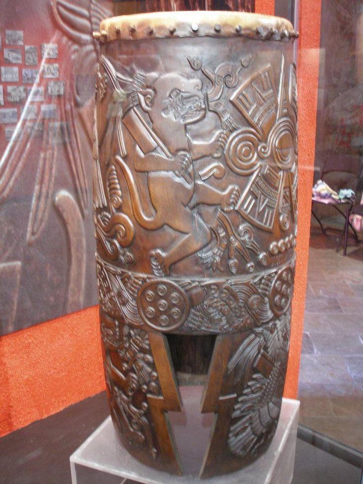 """Huehuetl Drum 34/"""" X 15/"""" Native Drum Aztec Dance"""