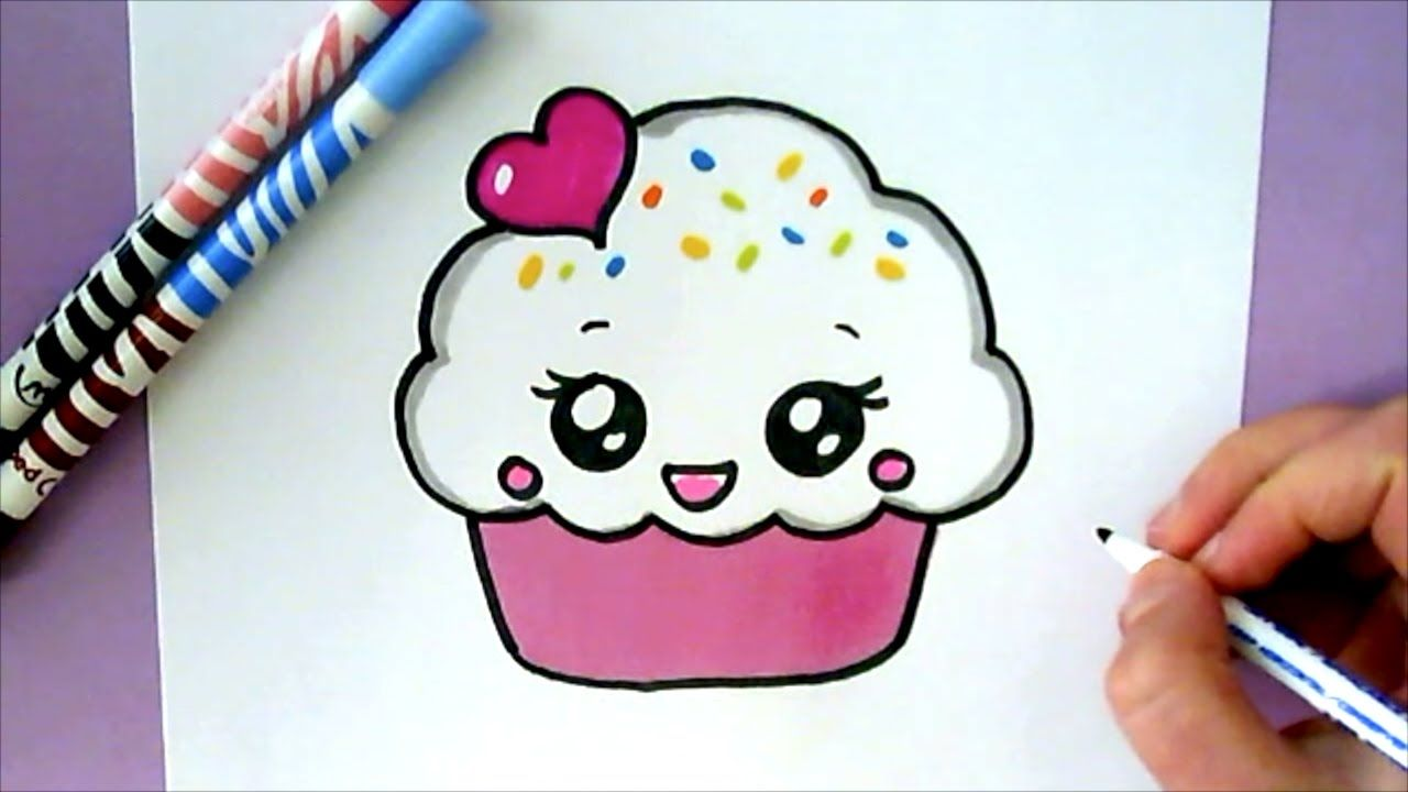 How To Draw A Cute Cupcake Youtube Desenhos Kawaii Desenhos