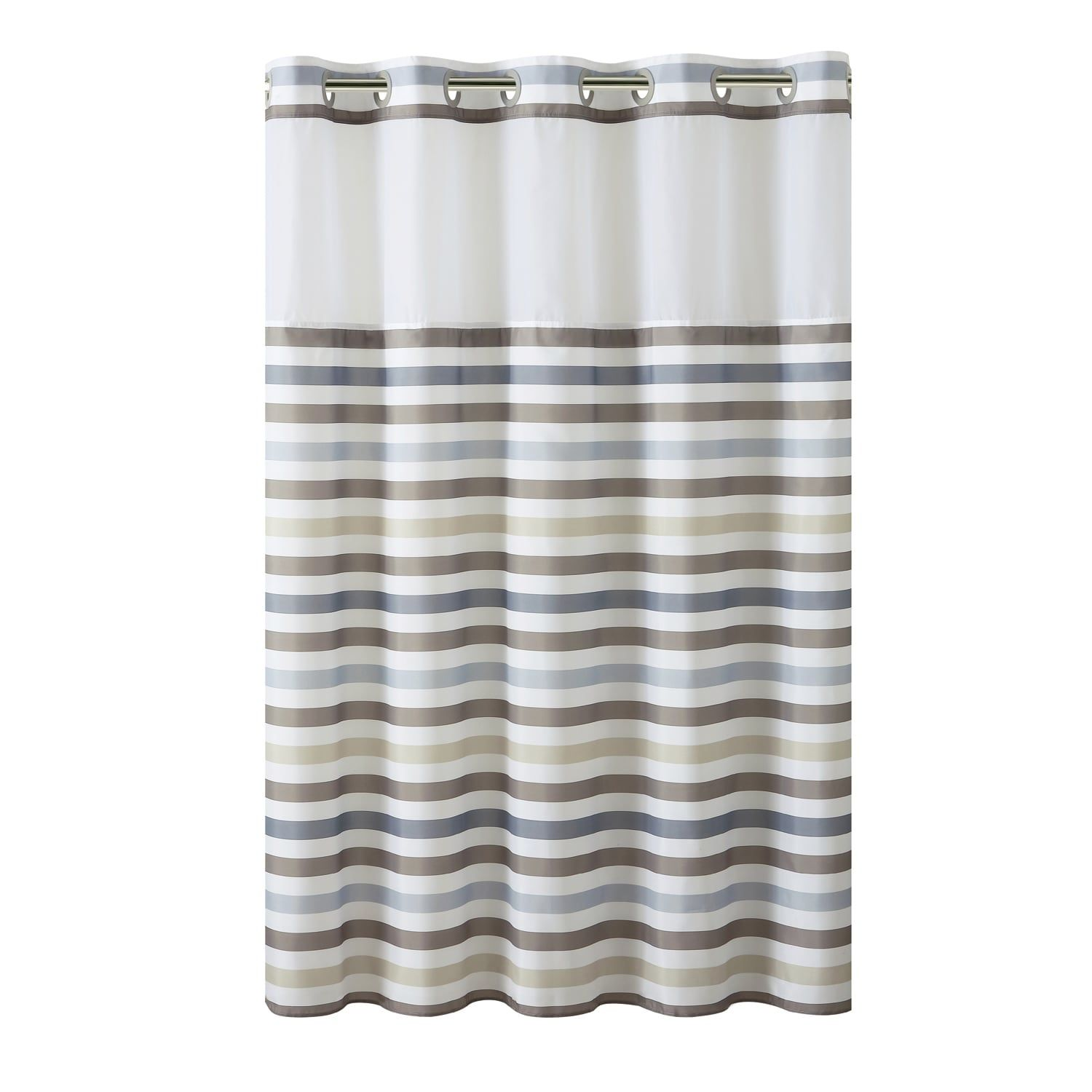Hookless Hampton Multi Striped Shower Curtain With Liner Multi