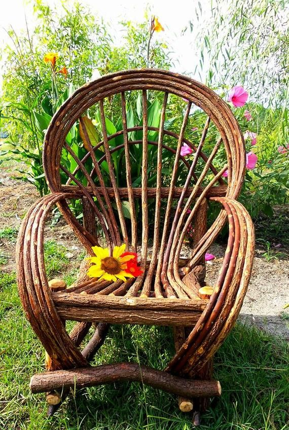 One Fan Back handmade willow chair...