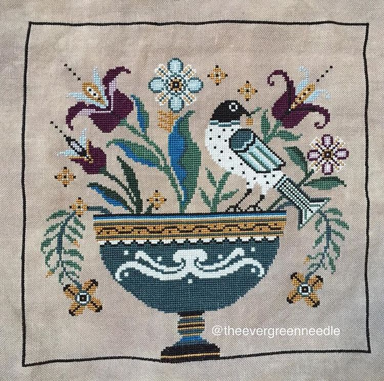 Fraktur Flowers La-D-Da Cross Stitch Pattern