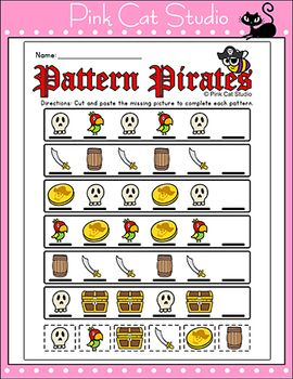 pattern pirates sequencing worksheets repeating growing patterns sequencing worksheets. Black Bedroom Furniture Sets. Home Design Ideas
