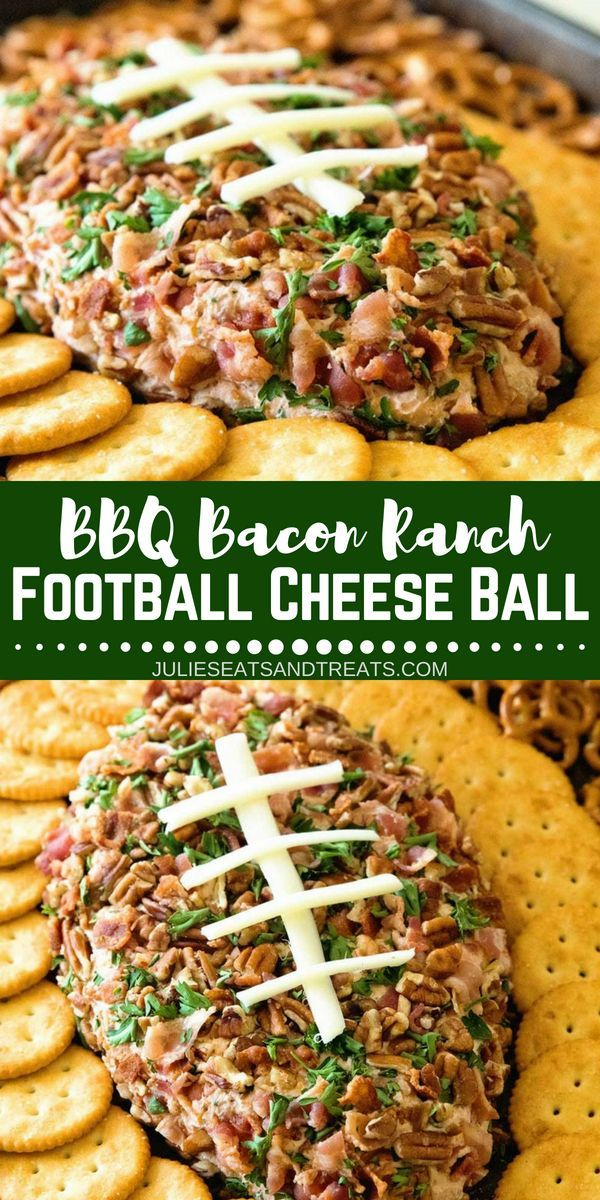 Football BBQ Bacon Ranch Cheese Ball - Julie's Eats & Treats