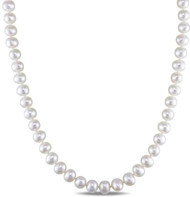 Pendants Necklaces by CS-DB Round 8mm Cultured Pearl Silver Womens Jewelry