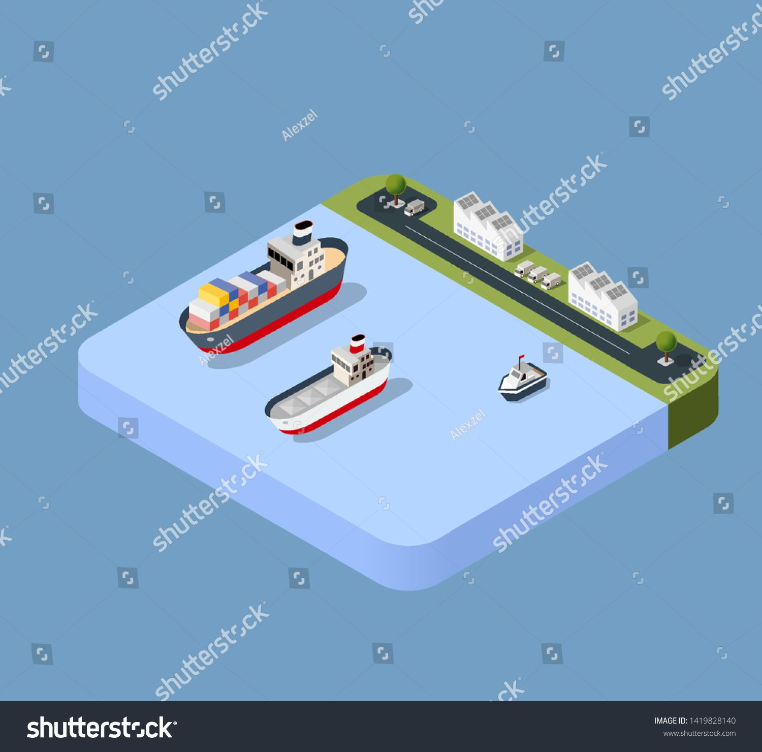 Port cargo ship transport logistics seaport vector template with an isometric illustration. The sea with crane container and vessel #Sponsored , #SPONSORED, #logistics#seaport#vector#transport