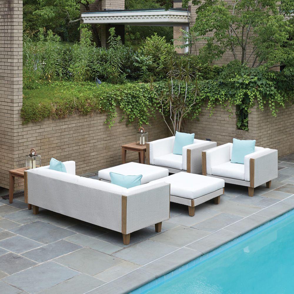 Outdoor Wicker Sofa Set With Natural Teak Accents