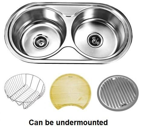 Undermount Double Round Bowl Stainless Steel Sink With Dish Rack Food Board And Drainer Tray Can Also Kitchen Sink Countertop Kitchen Builder Sink Countertop