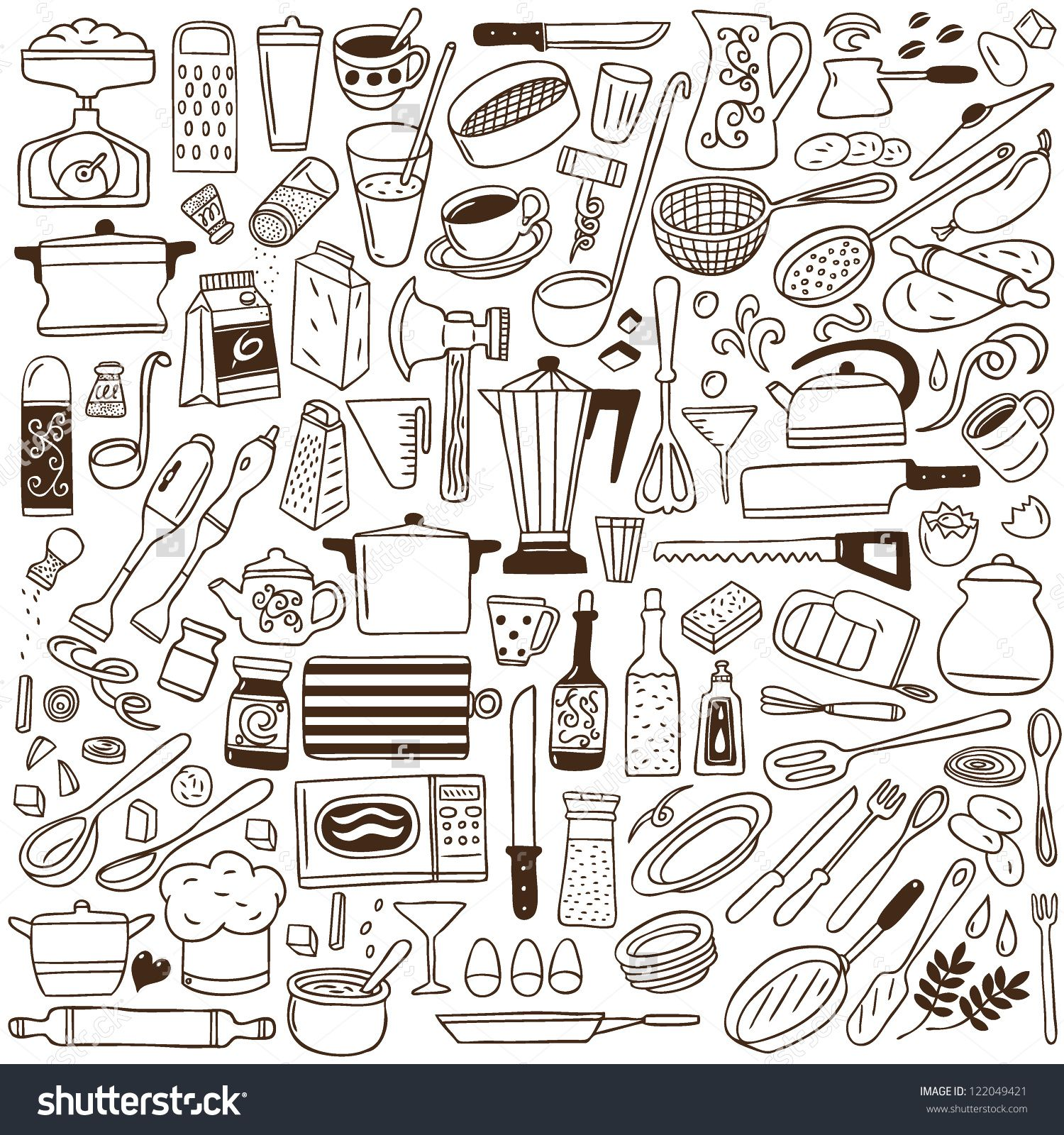 kitchen tools - doodles collection | Doodles | Pinterest | Doodles ...