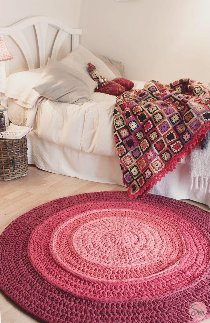 Alfombra redonda en Degradé con colores rojizos de 1.20 metros de ...