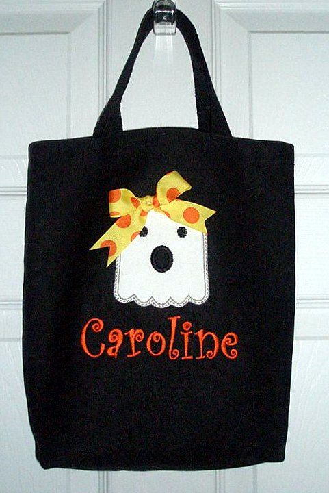b3e82be944 Adorable Halloween Bag with Ghost Applique and Monogram