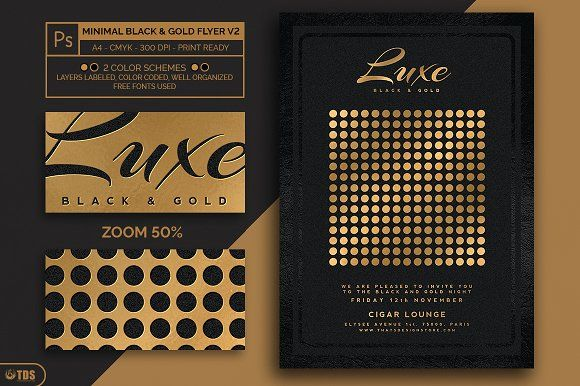 Minimal Black And Gold Flyer V By Thats Design Store On