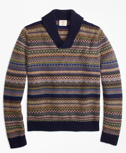 Fair Isle Wool-Blend Shawl-Collar Sweater | Presents | Pinterest ...