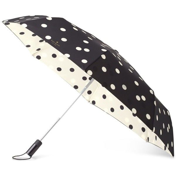 kate spade new york Deco Dot Travel Umbrella (¥5,700) ❤ liked on Polyvore featuring accessories, umbrellas, black, black umbrella, dot umbrella, kate spade umbrella, polka dot umbrella and kate spade