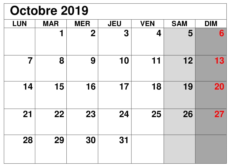 Mensuel Calendrier Octobre 2019 Calendrier Octobre Calendrier