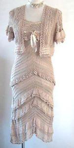 karen-millen-beige-crochet-dress-and-bolero-shrug: bought this on ebay,love this dress,totally me♡