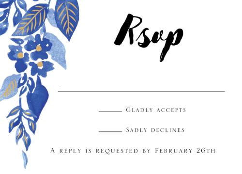 Copper Foil Stamped Indigo Trellis Wedding Response Card