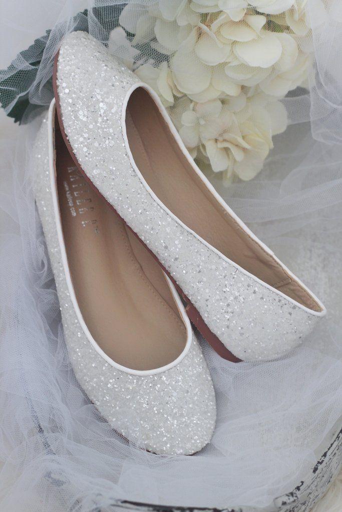 White Rock Glitter Slip On Flats White Bridal Shoes Wedding Shoes Wedding Shoes Bride