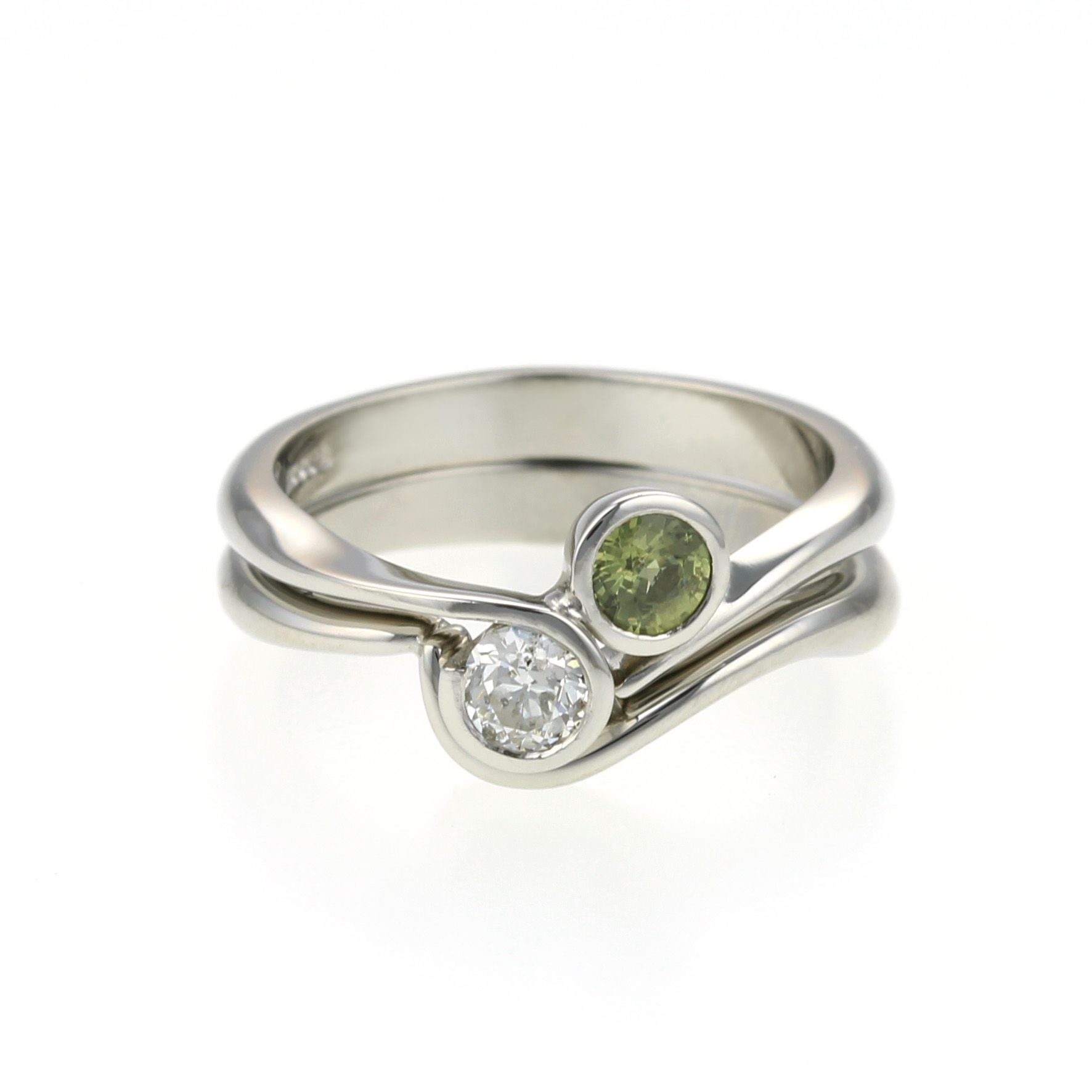platinum #green #sapphire and #diamond #ring with #weddingband by