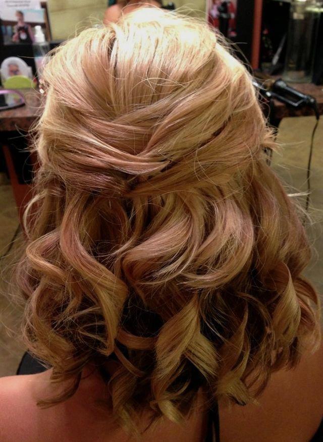 wedding hairstyles half up half down shoulder length hair