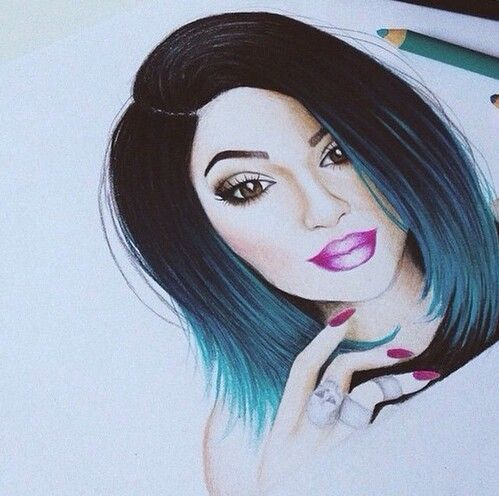Dibujo De Kylie JENNER Dibujar Oo Pinterest - Barbie hair style drawing