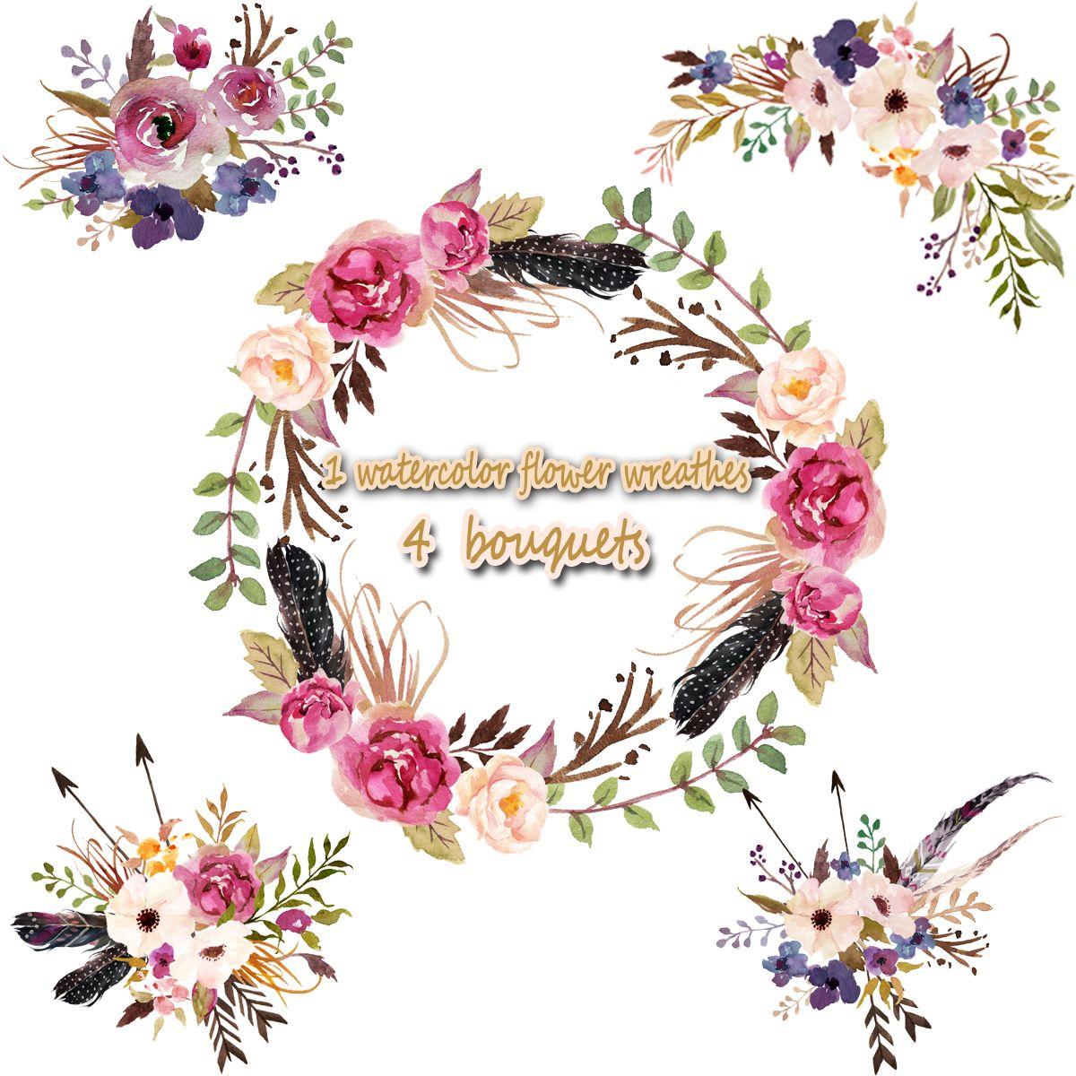 35USD 1 Watercolor Flower Wreathes Amp 4 Flower Bouquet Floral Frame PNG Wedding Bouquet