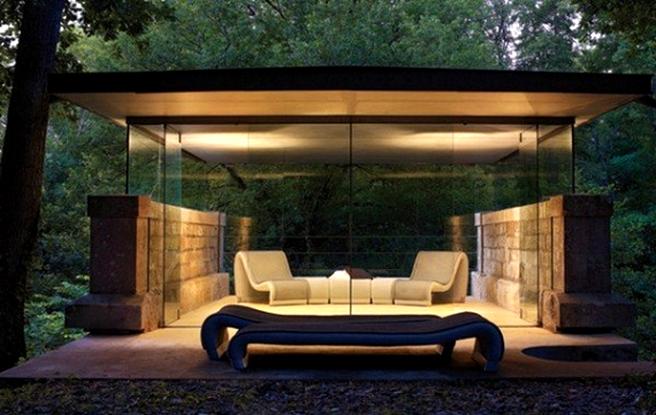 Romantic Modern Glass Gazebo Decoration In The Night Modern