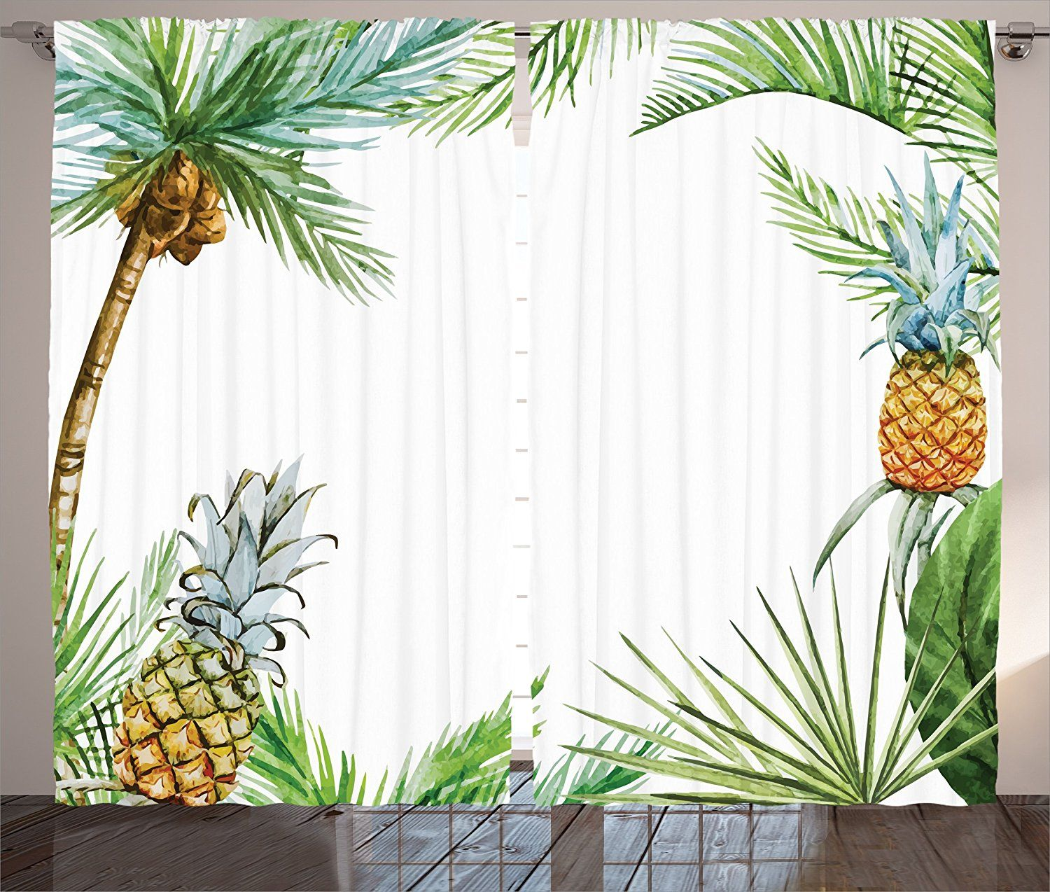 Pineapple decor curtains by ambesonne watercolor tropical island