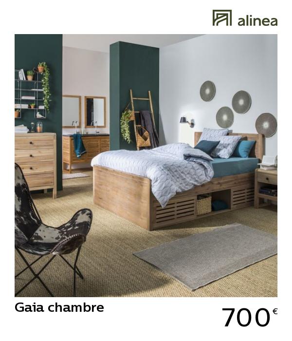 Gaia Chambre Lit Places En Acacia Avec Rangements Et Tête De Lit - Lit 2 places rangements