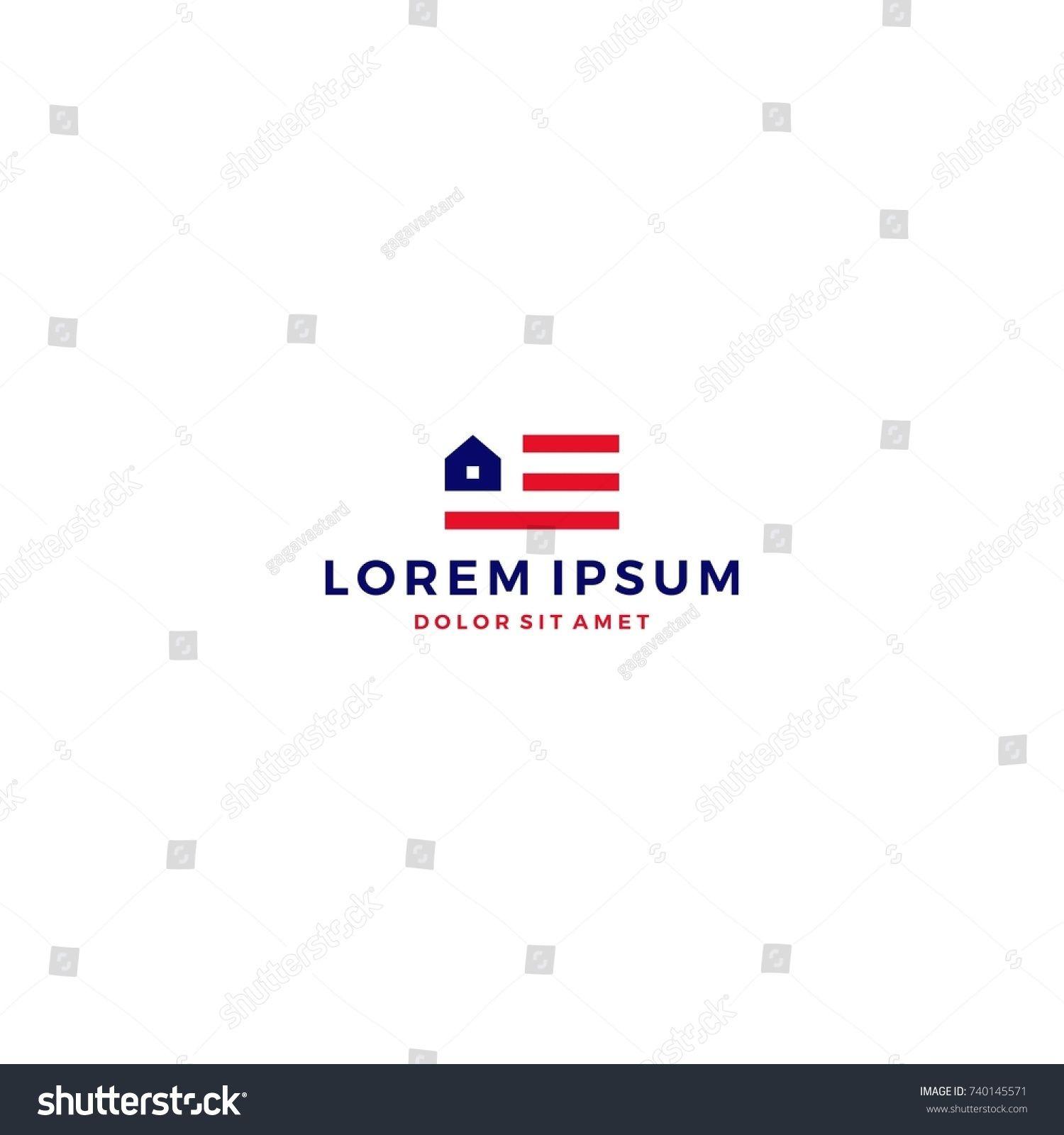 Home House American Flag Logo Vector Template Icon # Logo