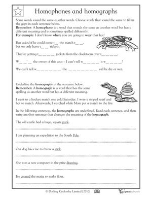 Our 5 Favorite 5th Grade Writing Worksheets Homographs Fifth