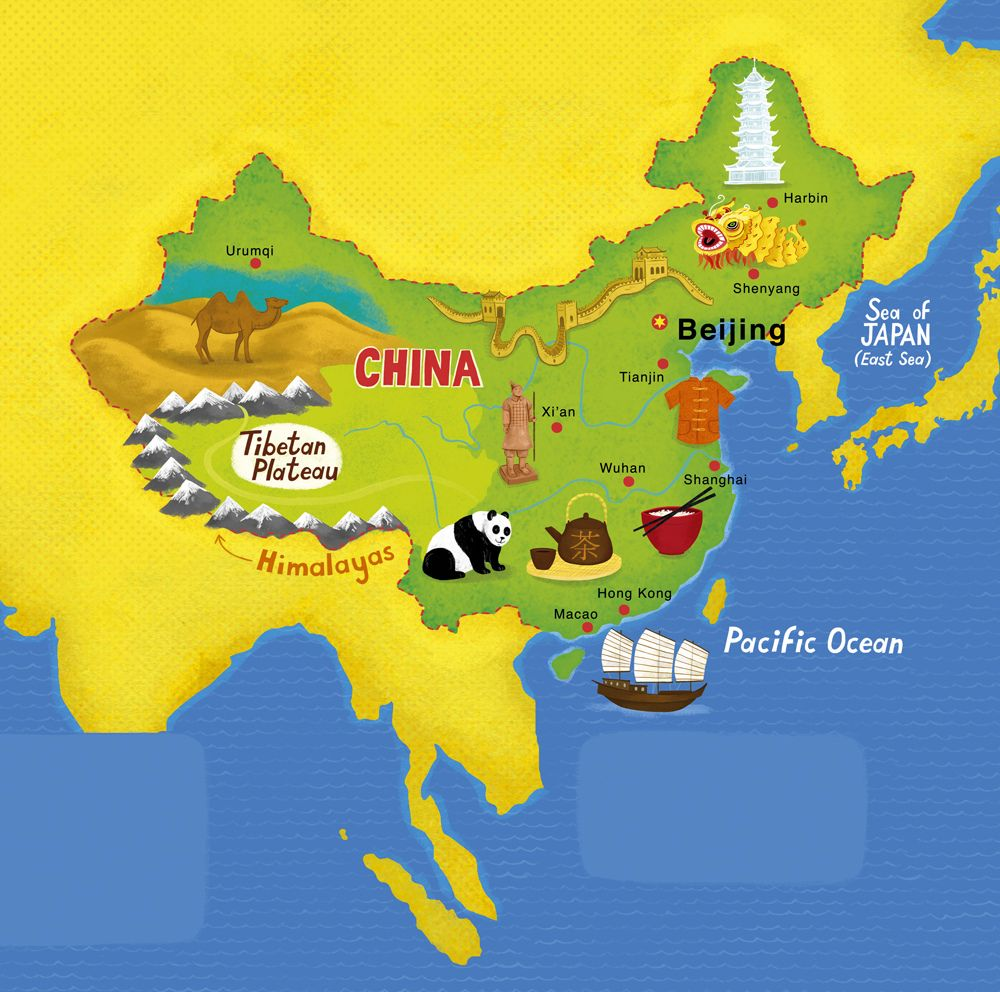 Map of China Wuhan China and Travel posters