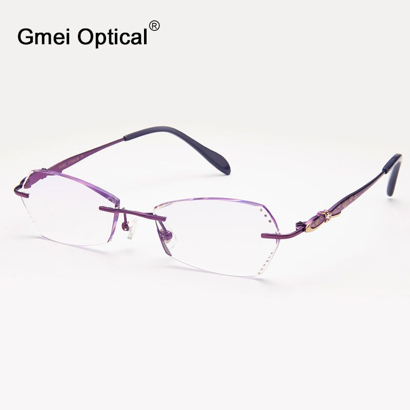 9f0e537f49bc Gmei Optical Q6602 Rimless Diamond Cutting Eyeglasses Frame for Women  Eyewear Glasses