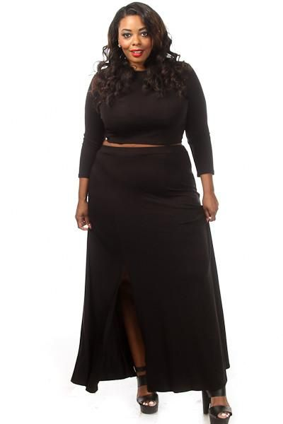 This Sexy Plus Size Set Has A Solid Crop Top With Matching High Waist Maxi Skirt Soft Stretch Material Polyester Spandex Model Wearing Made In U