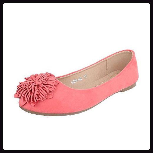 Ital-Design Ballerinas Damen-Schuhe Geschlossen Blockabsatz Blockabsatz Ballerinas Pink, Gr 37, B982H-Bl-