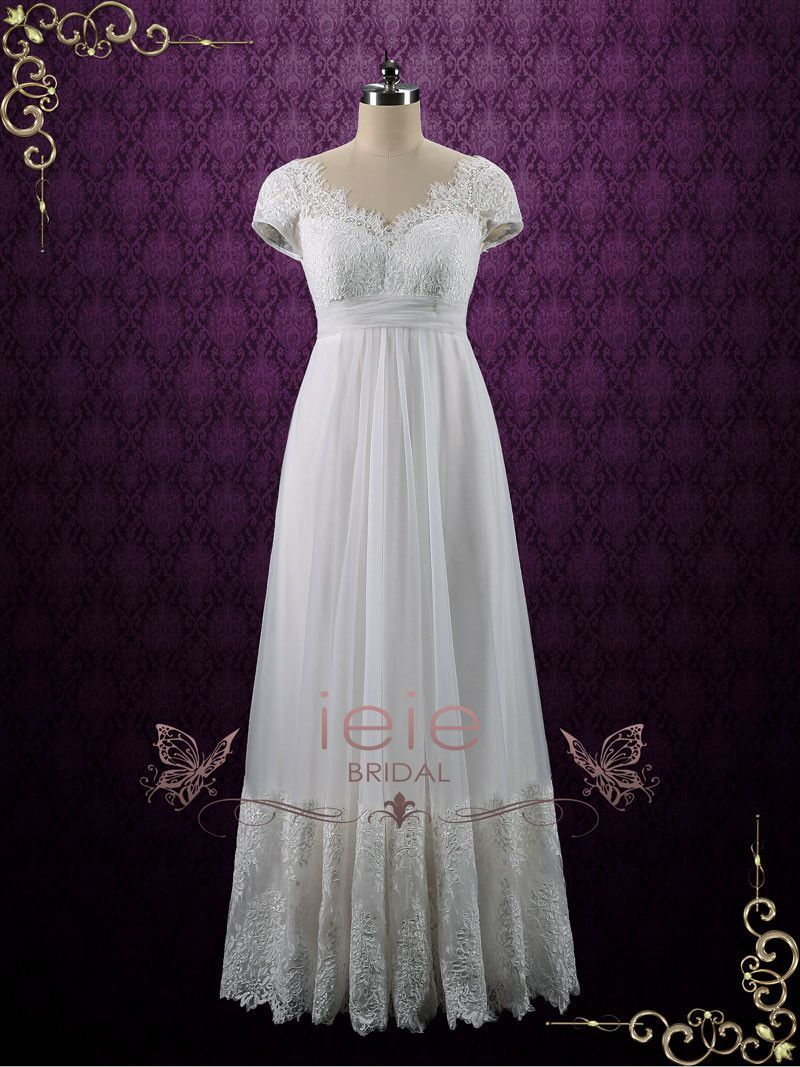 Vintage queen anne empire waist french lace tulle wedding dress