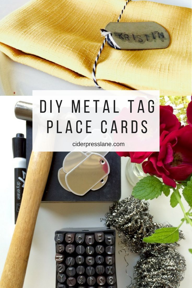 Jun 12 DIY Metal Tag Place Cards DIY metal tag place cards tablescapes for events name cards. Easy how to place setting.