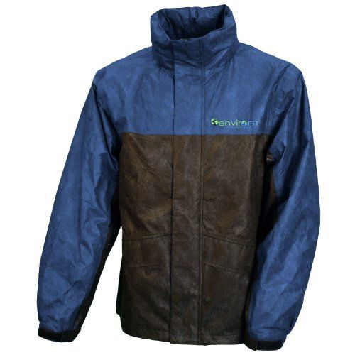 """Envirofit Reflective Two Tone Rain Jacket, Navy/Black by Sportsman Supply Inc.. $27.00. Color is red. Perfect for fishing, hiking, golf, biking, jogging, and boating. Size is extra large. Has multiple pockets to keep your items safe. Envirofit gear is made of """"non-woven polypropylene fabric fused to a breathable, yet waterproof polyethylene film"""". From the Manufacturer                These pants are made to give you the most mobility as possible while protectin..."""