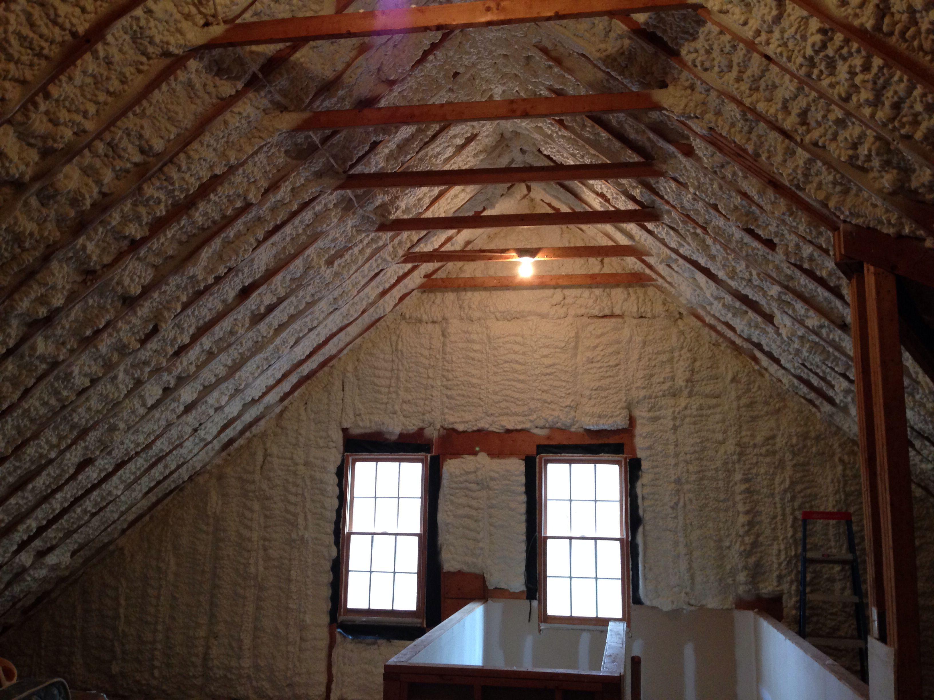Spray Foam Insulation In Walk Up Attic Completed By Mpi Foam Www Mpifoam Con Attic Renovation Attic Flooring Attic Design