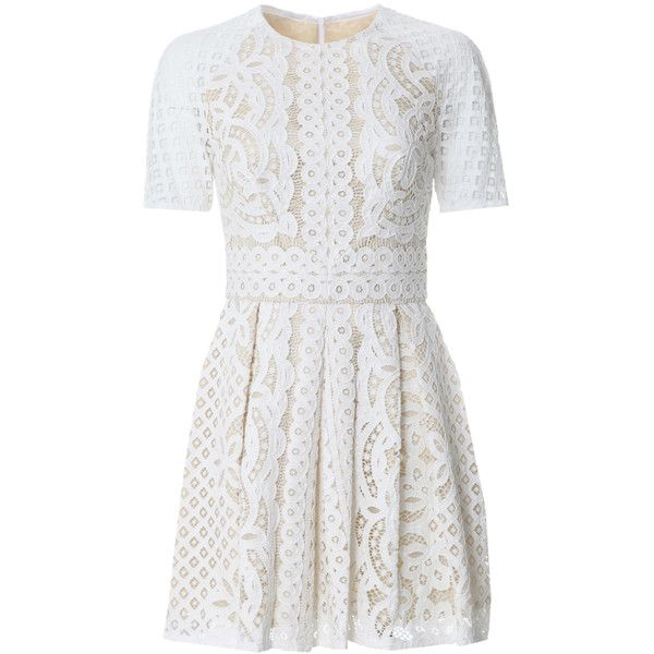Lover Floral Lace Mini Dress ($995) ❤ liked on Polyvore featuring dresses, day dresses, robe, ivory, floral lace dress, lace dress, white short sleeve dress, short dresses and white dresses