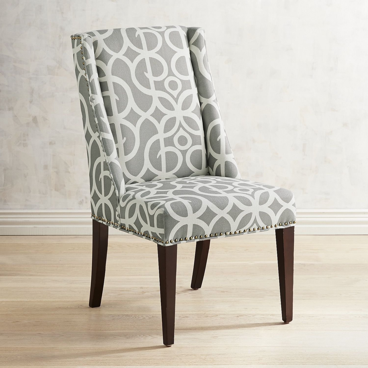 Wingback Dining Room Chairs Owen Metro Pewter Dining Chair With Espresso Wood Products