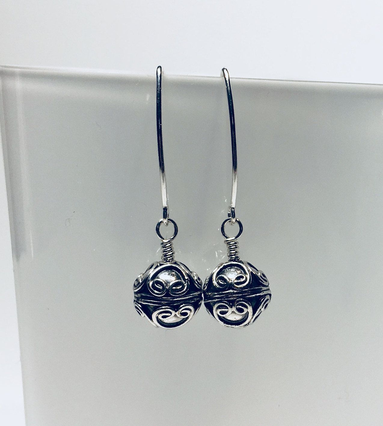 Sterling Silver Earrings, Dangle, Bali Ball Beads, Wire Heart ...