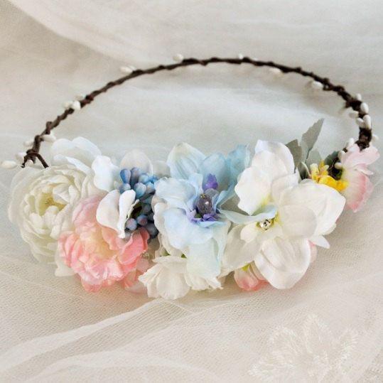 Rustic Floral Hair Crown  Bridal Floral Crown by LavendersBshop