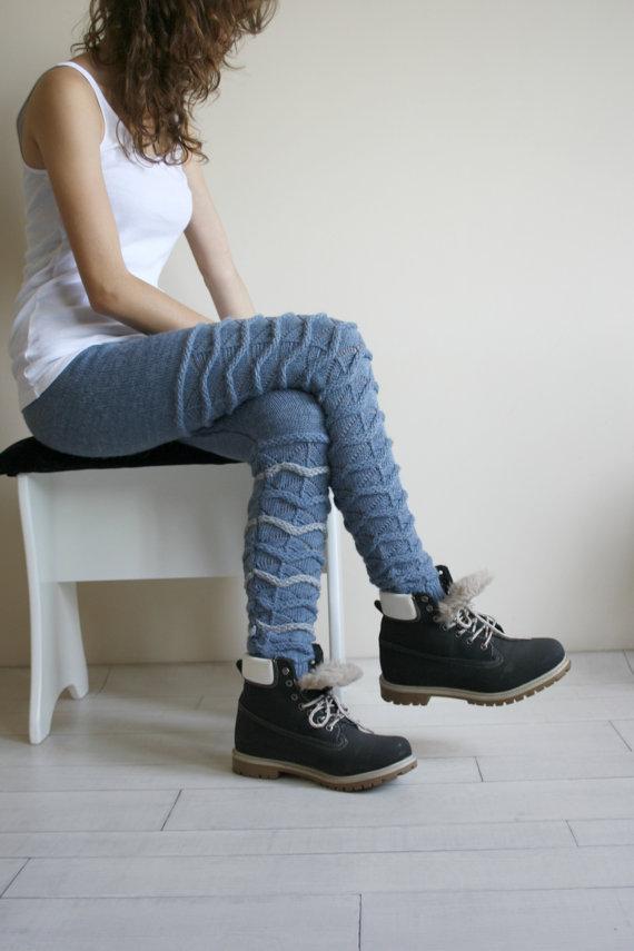 Denim Blue Knitted Stretch Leggings With Gray Zigzag Christmas Gifts Gift For Her Leggings Mom Gift Leggings For Women Clothing Gift Mujer En Leggings Pantalones Pantalon Gris